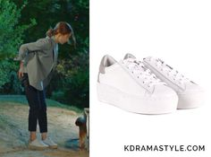 """YOON SO AH'S WHITE LEATHER SNEAKERS - ASH Detox Studded Sole Trainers in White & Grey Leather.  Shin Se Kyung 신세경 as Yoon So Ah 소아 in """"Bride of the Water God 2017"""" Episode 1."""