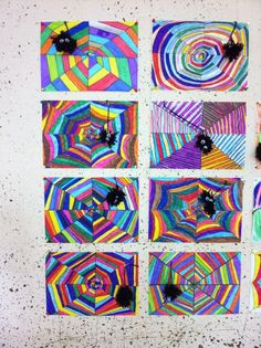 Art in elementary school: Colorful spider webs - Halloween Kunst, Halloween Art Projects, Fall Art Projects, School Art Projects, Kindergarten Art, Preschool Art, Fall Crafts, Kids Crafts, 3rd Grade Art