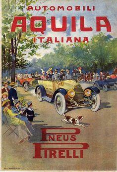 AUTOMOBILI AQUILA ITALIANA-PNEUMATICI PIRELLI-1914-ADVERTISING-PUBBLICITA