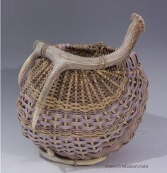 Blue 2-Antler Basket by Susan Ashley
