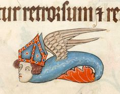 Flying Bishop Monster Luttrell Psalter, England ca. 1325-1340 (British Library, Add 42130, fol. 79r)