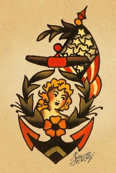 """Norman """"Sailor Jerry"""" Collins :: At sea, the anchor is the most secure object in a sailor's life, making it the perfect representation of stability. This is why you'll often see them emblazoned with """"Mom"""" or the name of a sailor's sweetheart (the people who keep them grounded). Anchors have become popular within general tattoo culture over the years, but the symbolism is still the same. It's a reminder of what keeps you steady."""