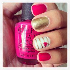 OPI Koala Bear-y, Valentine's Day nails, nail art, stripes, hearts, gold glitter