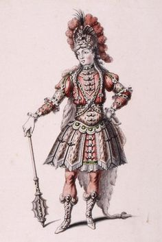 Pen and ink costume design by Jean Berain, for Hercules, in the opera 'Atys', Paris, France, 1676. Museum no. S.1108-1982
