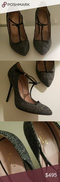 GUCCI Tweed T-strap Heels BNWOT Ultra sexy office chic tweed strap heels.  #1093 Gucci Shoes Heels