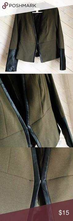 "H&M Olive Blazer One of my ""GO-TO's""  Dark Olive Green w/ Black Leather Trim and Arms!  SIZE 6 H&M H&M Jackets & Coats Blazers"