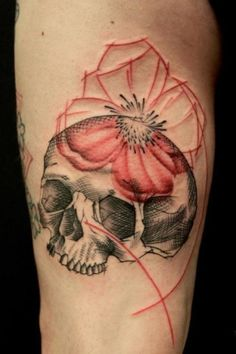 sketch of red flower and skull by Jacob at Crooked Moon
