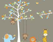 Wall Decal-Jungle Wall Decals with Monkey Giraffe Elephant-Nursery Vinyl Decal Set