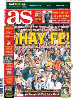 Los Titulares y Portadas de Noticias Destacadas Españolas del 16 de Febrero de 2013 del Diario Deportivo AS ¿Que le parecio esta Portada de este Diario Español?