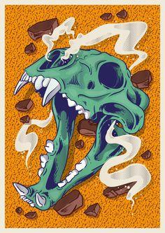 Rock and Skull. by Alexandre Godreau, via Behance