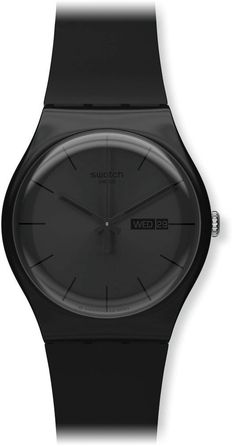 Amazon.com: Swatch Men's SUOB702 Quartz Black Dial Day And Date Plastic Watch: Swatch: Watches
