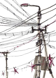 Power Lines Urban sketch Study in black and white by SketchAway