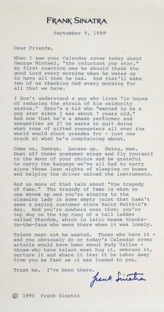 A Letter From Frank Sinatra.