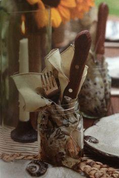 Khaki bandanas as napkins in a subtle western themed dinner | via Celebrate magazine