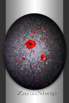 Amapolas rojas Pintura Paisaje original Arte Moderno 24x20 Oval lienzo abstracto Negro Plata, Heavy Impasto textura, Mixta Obra Medios