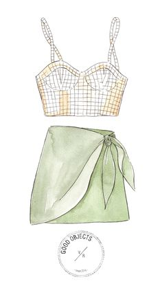 Fashion Design Sketches 558587160034187100 - Good objects – Crop top and wrap skirt watercolor illustration Source by singuliere_image Dress Design Drawing, Dress Design Sketches, Fashion Design Sketchbook, Fashion Illustration Sketches, Dress Drawing, Fashion Design Drawings, Fashion Sketches, Watercolor Illustration, Illustration Kids