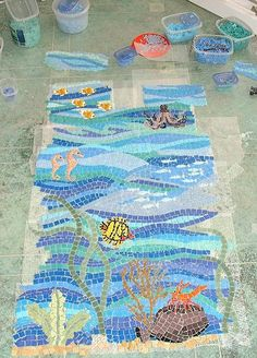 Mosaics tile underwater designs for the Gulf Coast project of DAC-ART sea fish water