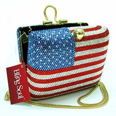 ad48371aad evening bags  American Flag Clutch Bag - USA Design Evening Purse with  Swarovski Crystals