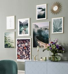 Gallery wall with tones of green and blue - Wall art with beautiful posters and art prints - Find inspiration for your personal wall art with posters & art prints from Posterstore.se Spice up your living room or bedroom. Inspiration Wand, Interior Inspiration, Room Decor Bedroom, Living Room Decor, Art Mural, Wall Art, Poster Store, Beautiful Posters, Blue Walls