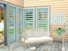 Coast View Set.  10 Contemporary meshes that include bench seating, and coffee table with recolors, plus deco starfish for table top and another for hanging on the wall with recolors, for lounging...