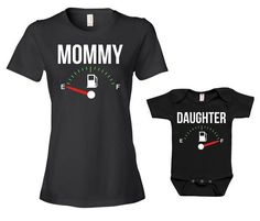 Mommy And Daughter Matching Outfits Gifts For New Mom Gift Ideas Mom And Baby Mommy And Me Clothing Fuel Empty Full Bodysuit - JM122-124 by GoldenStarTees on Etsy