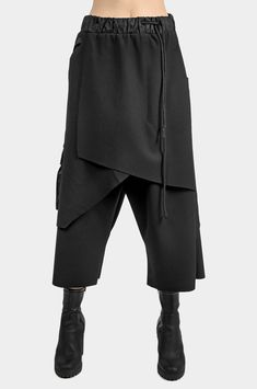 Layered Asymmetric Skirt Pants - Outfits for Work Skirt Pants, Dress Skirt, Fashion Pants, Fashion Dresses, Vetements Clothing, Wide Pants, Asymmetrical Skirt, High End Fashion, Fashion Sewing