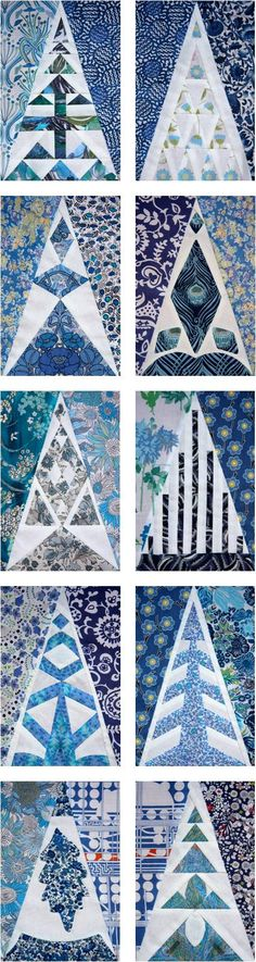 Dear Jane, top row triangle blocks in fab blue and white prints, by Julianne