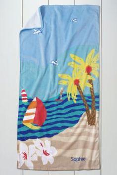 Kids' Tropics Velour Beach Towel from Lands' End