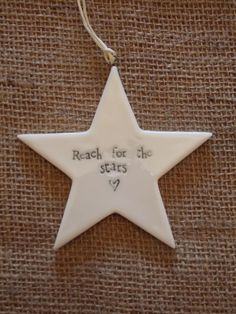 Porcelain Star Hanging Decoration - Reach For The Stars, £4.25