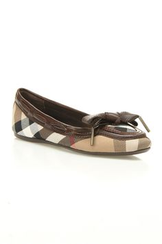 Burberry Washed Housecheck Oriel Ballet Flats In Chocolate.