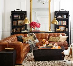 Ken Fulk Quilted Leather Sectional from Pottery Barn - in love! : sectional sofa accessories - Sectionals, Sofas & Couches