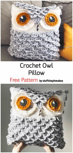 Crochet Owl Pillows, Crochet Afghans, Owl Crochet Patterns, Crochet Cushion Cover, Crochet Patterns For Beginners, Crochet Stitches, Knitting Patterns, Crochet Owl Blanket Pattern, Owl Pillow Pattern