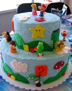 The big Mario/Peach birthday celebration is this weekend, so I'm going to try my hand at this cake.  Wish me luck!