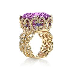"""Erica Courtney 18K Yellow Gold """"Isabelle"""" ring, featuring a 37.27ct Kunzite, accented with 0.82ctw purple Sapphire and 1.92ctw Diamonds"""
