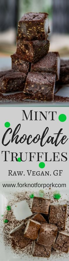 Classical flavour blend of mint and dark chocolate turned up as delicious #raw #vegan chocolates truffles.