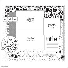 Fantastic Absolutely Free Scrapbooking Ideas templates Thoughts Your house dining room table is absolutely included (no room intended for even a coffee cup) togethe Scrapbook Layout Sketches, Scrapbook Templates, Scrapbook Designs, Card Sketches, Scrapbooking Layouts, Card Templates, Baby Scrapbook, Scrapbook Albums, Scrapbook Cards