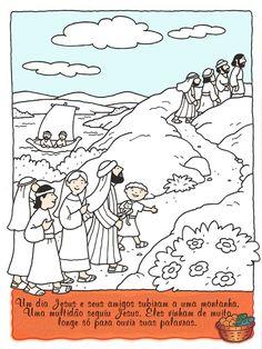 Vijf broden en 2 vissen / Jesus+subiu+a+uma+montanha