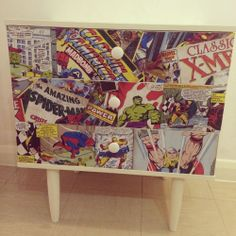Retro Marvel Comic Decoupage Chest Of Drawers Cabinet
