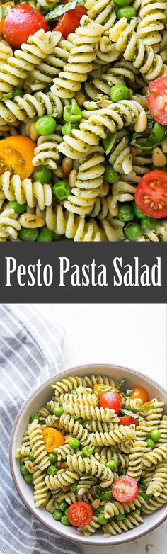 Quick and easy summer pesto pasta salad! with fresh basil pesto, spiral pasta, pine nuts, olives, peas, and cherry tomatoes. Takes less than 30 minutes to make! Perfect for a potluck! On SimplyRecipes.com #FourthOfJuly