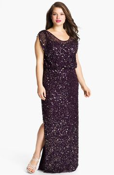 For me for Lydias ball? JS Collections Blouson Bodice Sequin Mesh Gown (Plus) available at Plus Size Party Dresses, Plus Size Gowns, Plus Size Outfits, Curvy Women Fashion, Plus Size Fashion, Look Plus Size, Modelos Plus Size, Costume, Groom Dress