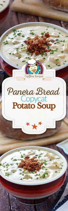 Bread Baked Potato Soup Do you love Panera Bread's Potato Soup? Make this creamy potato soup recipe at home with this recipe. Potato soup is perfect for lunch or dinner.Do you love Panera Bread's Potato Soup? Make this creamy potato soup recipe at hom Copykat Recipes, Soup Recipes, Cooking Recipes, Lunch Recipes, Potato Recipes, Cat Recipes, Sandwich Recipes, Fondue Recipes, Kitchen