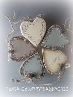* CUORI SHABBY * beautiful shabby chic colours and muted designs Heart Decorations, Valentine Decorations, Valentine Crafts, Christmas Crafts, Christmas Ornaments, Clay Crafts, Wood Crafts, Diy And Crafts, Arts And Crafts