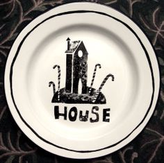 Clive Hicks-Jenkins: Enamelware plate decorated with ceramic ink. From the 'Hansel & Gretel' series