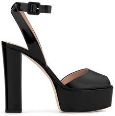 Giuseppe Zanotti Patent Leather 'betty' Sandal With Platform Betty - Black Leather Sandals, Shoes Sandals, Heeled Sandals, 7 Inch Heels, Giuseppe Zanotti Heels, Platform High Heels, Black High Heels, Fashion Heels, Black Patent Leather