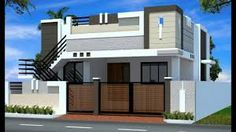 front elevation designs for duplex houses in india House Front Wall Design, Single Floor House Design, Home Stairs Design, Small House Design, Modern House Design, Independent House, 2bhk House Plan, Small House Plans, Building Elevation