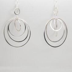 63cfd84d14b1 Aretes largos de Plata Círculos. Sterling Silver EarringsWomen s ...