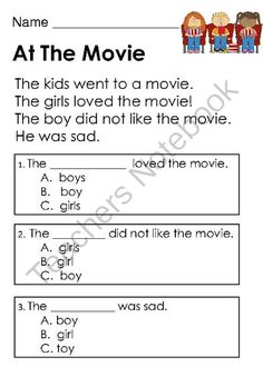 Worksheet Reading Comprehension Worksheets For 1st Grade will have literacy and data collection on pinterest kindergarten reading comprehension passages with multiple choice questions from common core connection teachersnotebook com