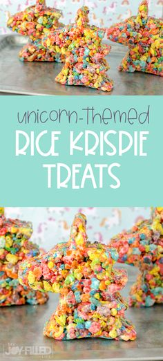 Unicorn fans everywhere will LOVE these unicorn rice krispie treats! They're gooey, sweet, and so delicious and fun! Perfect for your next unicorn party! Rice Krispie Treats Variations, Rice Krispie Treats Ingredients, Mint Recipes, Snack Recipes, Dessert Recipes, Bar Recipes, Dessert Dips, Unicorn Party, Kids Meals