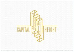 Logo for sale: Commercial city buildings designed in a linear 3D geometrical style with the three buildings stacked next to each other creating a staircase effect. The lines that create the buildings create the frameworks of the buildings.