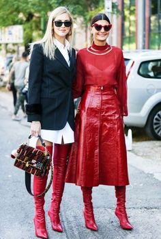 over the knee boots outfits: go for gloss red and pointed toes